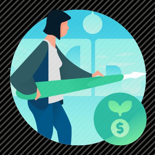 dollar, finance, growth, money, woman icon