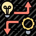 different, diverge, diversity, idea, options icon