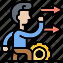 develop, impediments, improve, motivation, progress icon