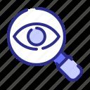 find, searching, eye, focus