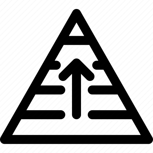 arrow, hierarchy, layers, pyramid, rank, structure, up icon