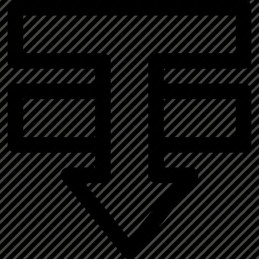 arrange, design, down, element, move, order, visibility icon