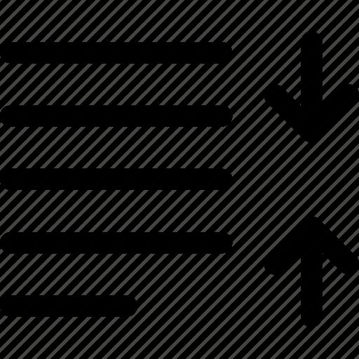 arrow, decrease, leading, line, paragraph, spacing, text icon