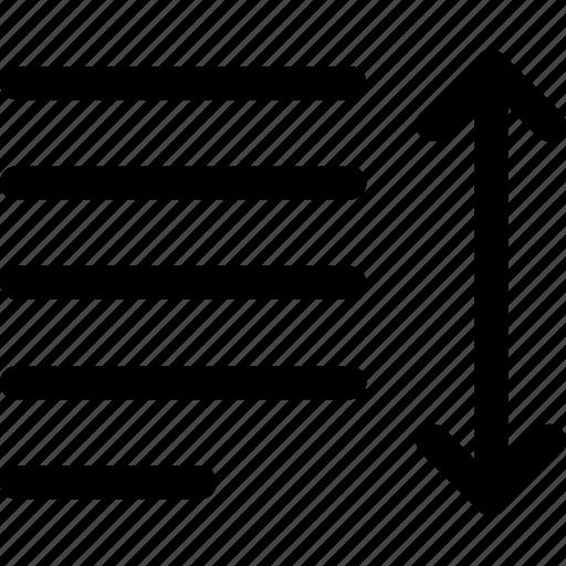 arrow, increase, leading, line, paragraph, spacing, text icon