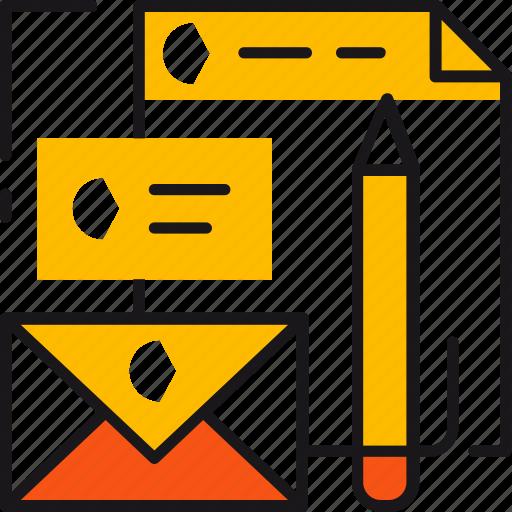 brand, branding, color, design, letter, logo, pencil icon