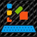 colors, design, illustration, laptop, palette, pipette, shape icon