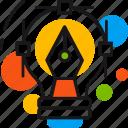 creative, design, graphics, idea, lamp, pen, tool icon