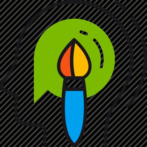 brush, creative, design, head, idea, mind, solution icon