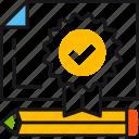 award, diploma, pencil, premium, prize, quality, reward icon