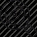 compass, examine, explore, magnifier, research, search icon