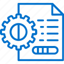 data, document, file, gear, information, management, processing icon