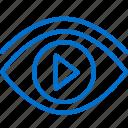 eye, media, multimedia, performance, video, visual, watch icon