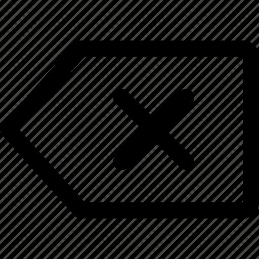 close, label, tag icon