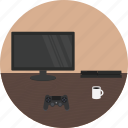 desk, entertainment, game, gamer, play, ps4 icon