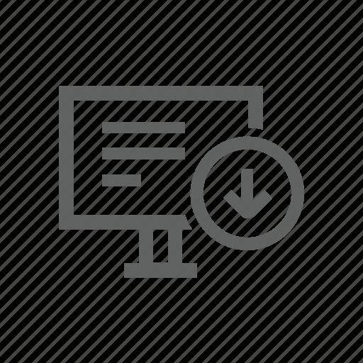 arrow, computer, desktop, down, download, hardware icon