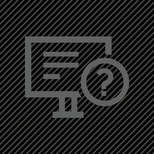 computer, desktop, hardware, help, question, question mark icon