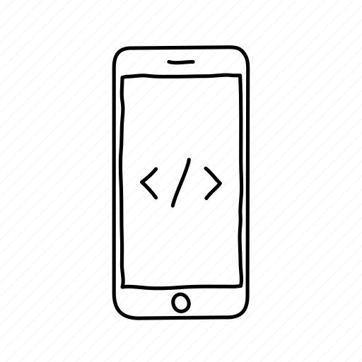 api, coding, devices, handdrawn, iphone, mobile, screens icon