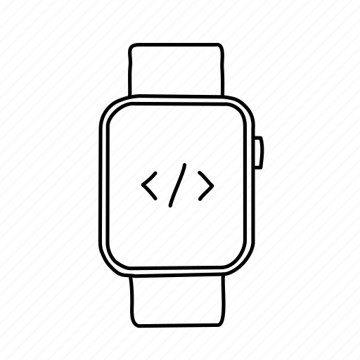 apple watch, coding, devices, handdrawn, mobile, screens, script icon