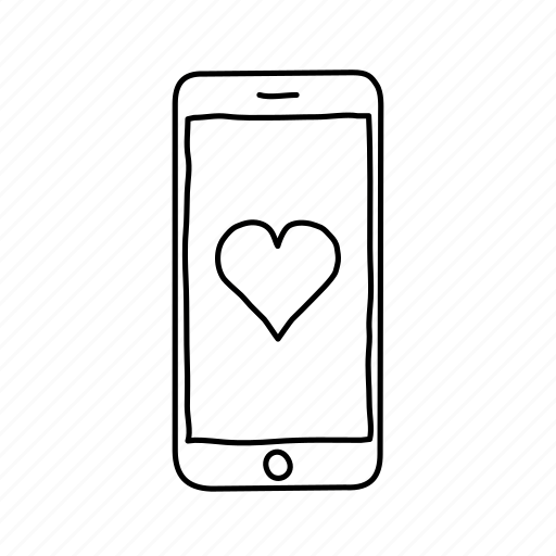 devices, handdrawn, health, heart, iphone, mobile, screens icon