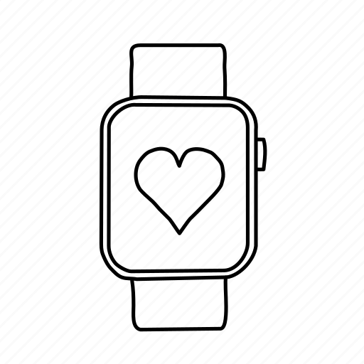 apple watch, devices, handdrawn, health, heart, mobile, screens icon