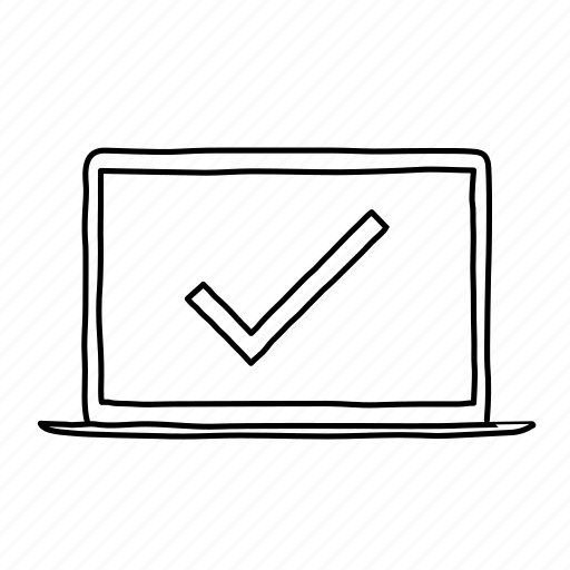check, checkmark, devices, handdrawn, laptop, mobile, screens icon