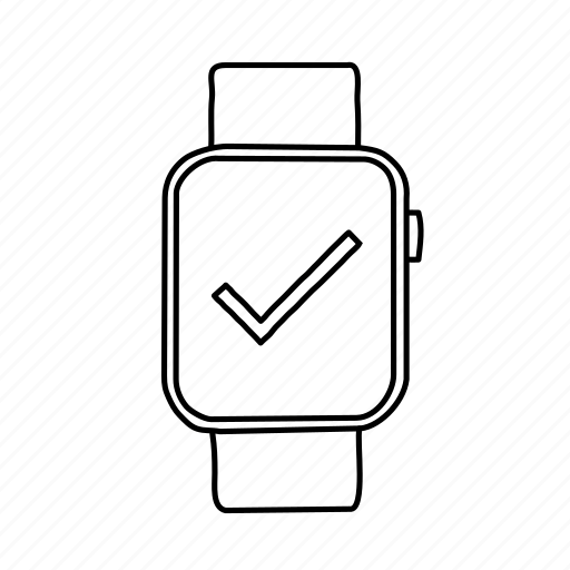 apple watch, check, checkmark, devices, handdrawn, mobile, screens icon