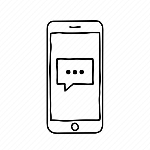 devices, handdrawn, iphone, mobile, screens, support, text message icon