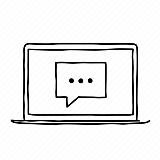 devices, handdrawn, laptop, message, mobile, screens, support icon