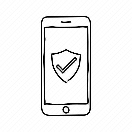 devices, handdrawn, iphone, mobile, screens, security, shield icon
