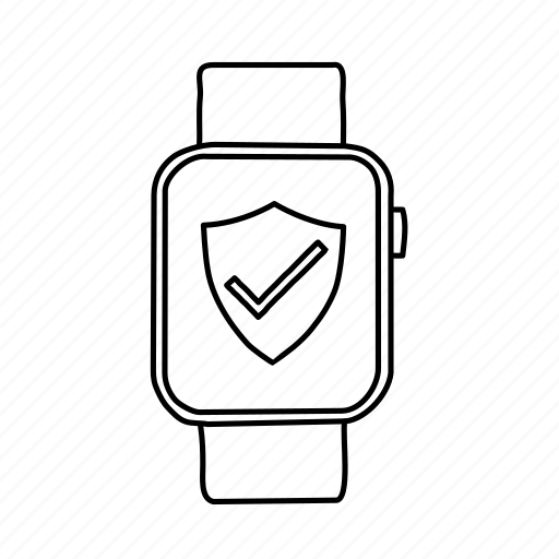 apple watch, devices, handdrawn, mobile, screens, security, shield icon
