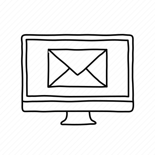 computer, desktop, devices, handdrawn, mail, message, screens icon