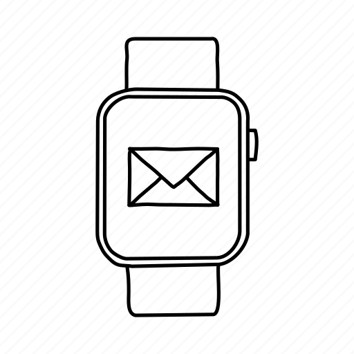 apple watch, devices, handdrawn, mail, message, mobile, screens icon