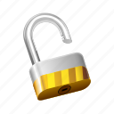block, lock, padlock, safe, security, unlocked icon