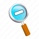glass, magnifying, out, pointer, zoom icon
