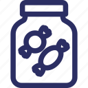 candy jar, confectionery, sweet, candy, toffees icon