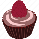 cupcake, dessert, food, raspberry, sugar