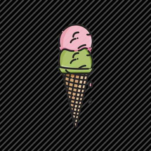 cone, cream, drip, icecream, melt, summer, van icon