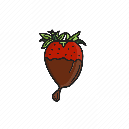 chocolate, dip, fountain, melted, strawberry icon
