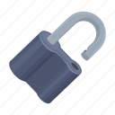 lock, locked, padlock, security, unlock icon