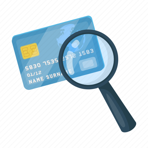 card, credit, detective, glass, imprint, magnifier, trace icon