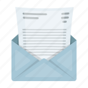 document, envelope, file, letter, page, paper icon