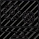software, computer, design, development, gear, interface, process icon