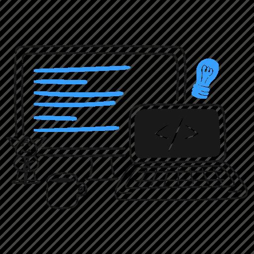 Developer, desk, work, station, laptop, coding, development illustration - Download on Iconfinder
