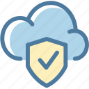 check, cloud, computing, lock, protect, protection, security icon