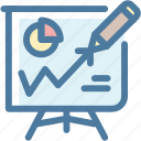analytics, blackboard, growth, pencil, presentation, statystics, strategy icon