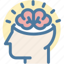 brain, brainstorm, creative, head, mind, think, thinking icon