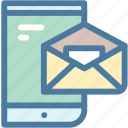 communication, email, envelope, mail, mobile, receive, smartphone icon