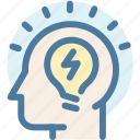 creative, head, idea, light, light bulb, solution, thinking icon