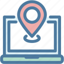 elements, laptop, location, marker, navigation, pin, sitemap icon