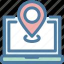 elements, laptop, location, marker, navigation, pin, sitemap